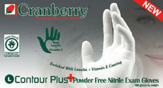 Cranberry CONTOUR PLUS Powder Free Nitrile Examination Gloves