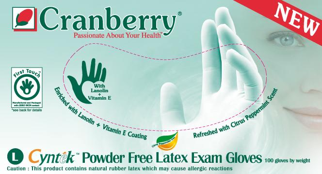 Cranberry Cyntek Latex Powder Free Exam Gloves
