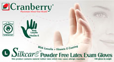 Cranberry SilkCare Latex Powder Free Exam Gloves